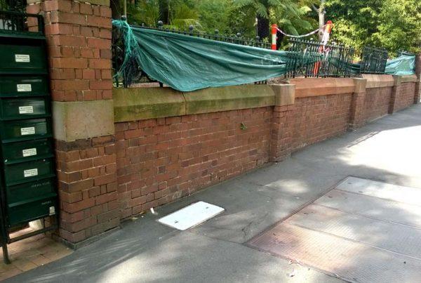 Heritage retaining wall restoration Darlinghurst